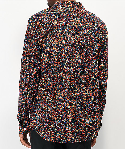 RVCA Costello Floral Black Long Sleeve Button Up Shirt