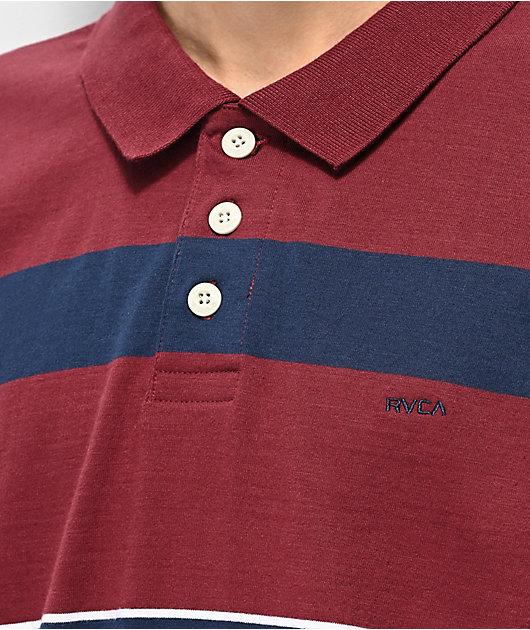 RVCA Darklands Burgundy & Navy Stripe Long Sleeve Polo Shirt