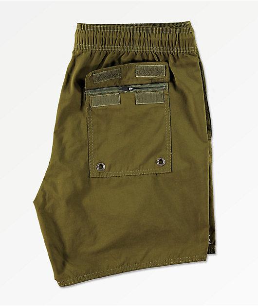 RVCA Gerrard Olive Elastic Waist Board Shorts