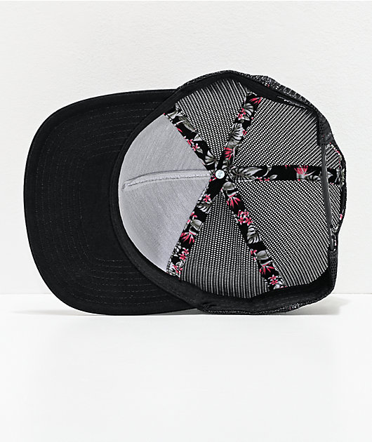 RVCA VA All The Way Floral Black Trucker Hat
