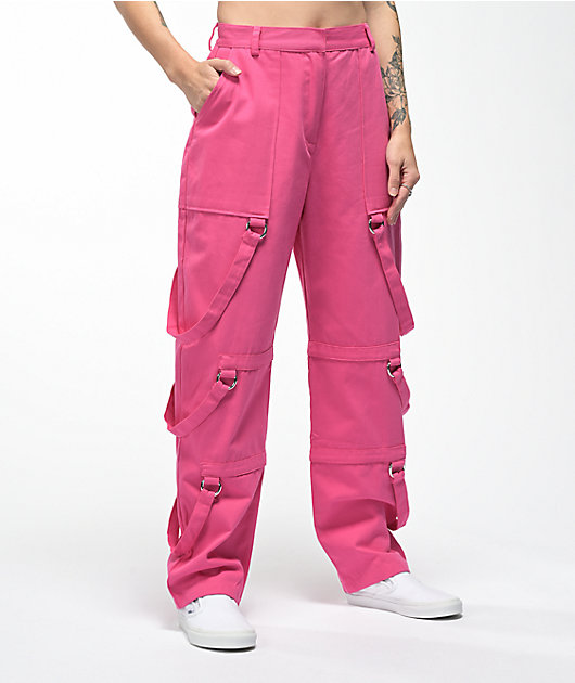 Ragged Jeans Collide Pink Strap Pants