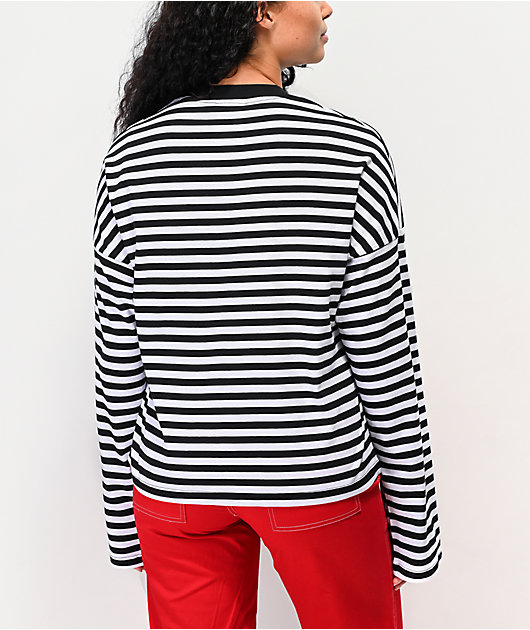 Ragged Jeans Dogma Black & White Striped Crop Long Sleeve T-Shirt