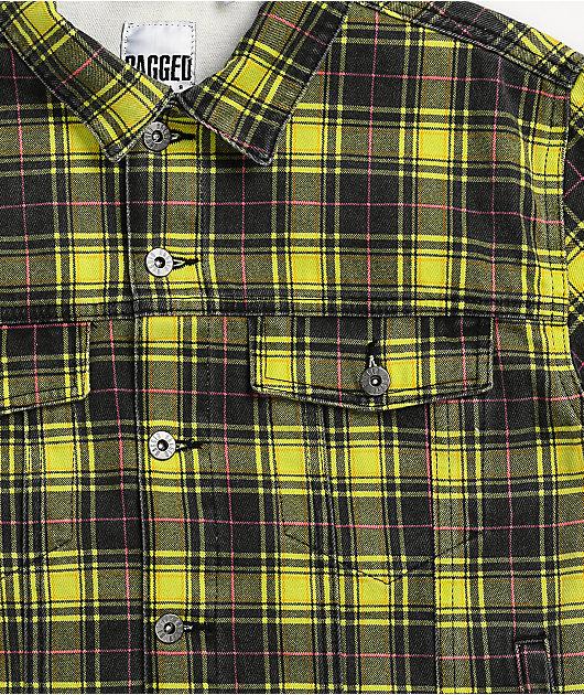 Ragged Jeans Lime Plaid Denim Jacket