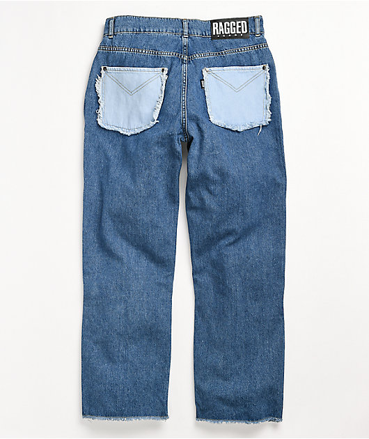 Ragged Jeans Paneled Light Blue Denim Jeans