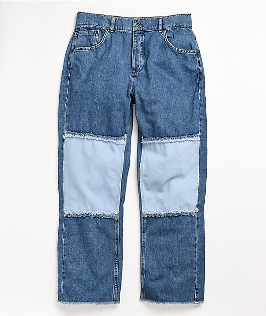 Ragged Jeans Paneled Light Blue Denim Jeans