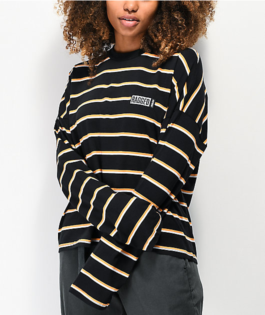 Ragged Jeans Praise camiseta de manga larga negra, naranja y blanca de rayas