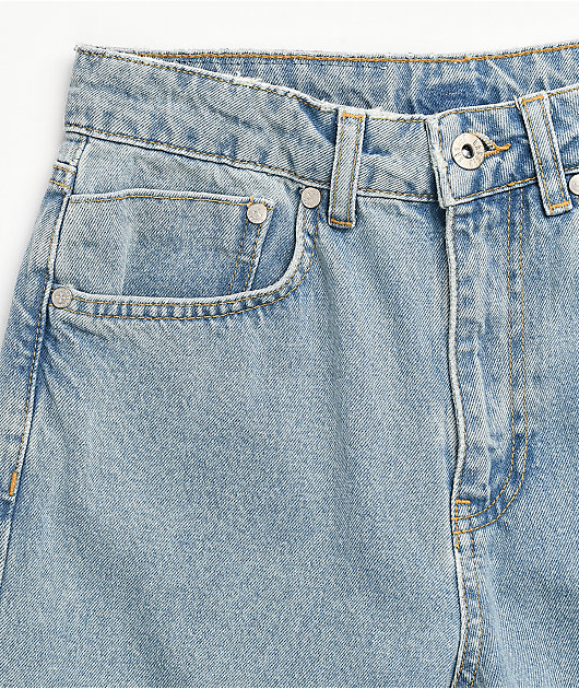 Ragged Jeans Square Cut Out Knee Light Blue Jeans