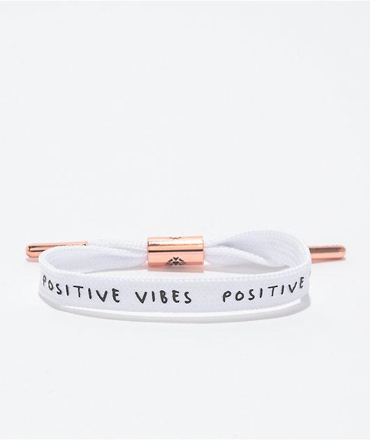 Rastaclat Positive Vibes White & Rose Gold Shoelace Bracelet