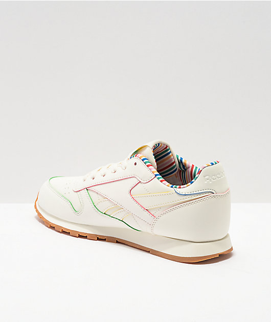 Reebok Classic Leather Chalk, Gold, & Pink Shoes