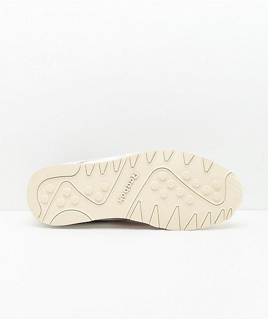 Reebok Classic Leather Nylon Chalk, Scarlet & Blue Shoes