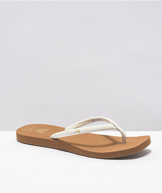 Reef Seas White & Tan Slide Sandals
