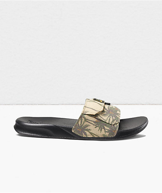 Reef Stash Palm Tan & Black Slide Sandals