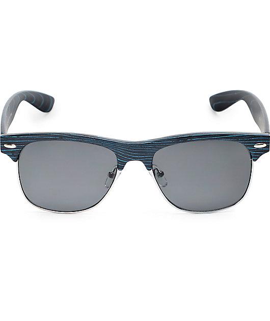 Retro Black & Blue Wood Sunglasses