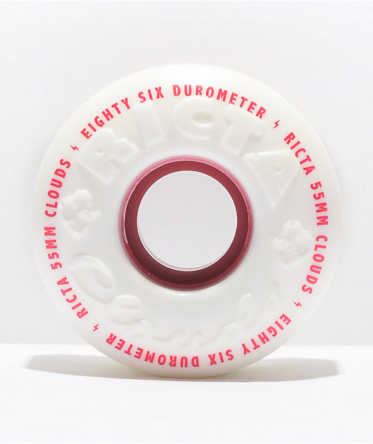 Ricta Clouds 55mm 86a White & Red Skateboard Wheels