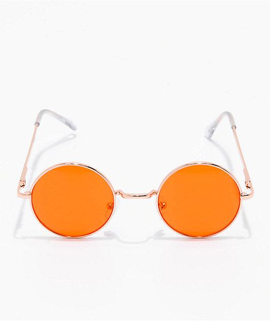 Rose Gold & Orange Round Sunglasses
