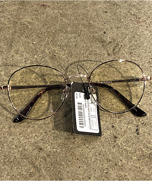 Round Gold & Clear Blue Light Glasses