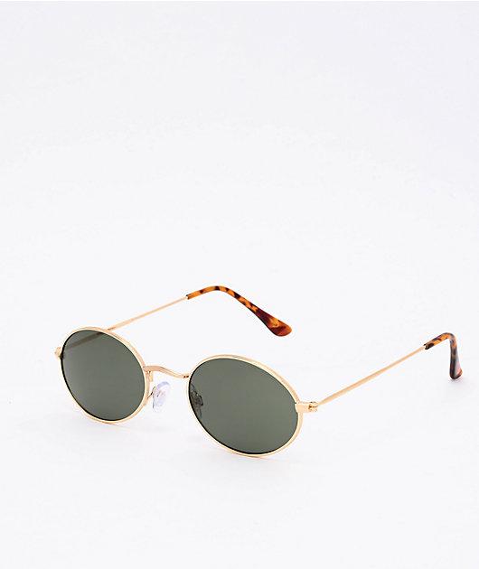 Round Green, Gold & Tortoise Sunglasses
