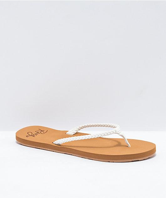 Roxy Costas Tan & White Sandals
