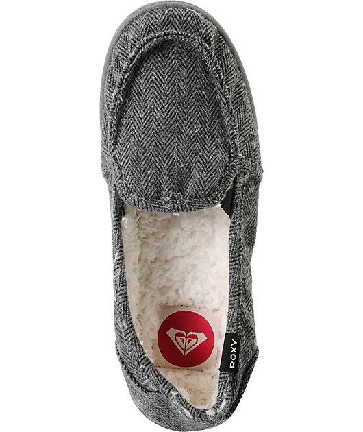 Roxy Lido Black \u0026 Grey Herringbone Wool