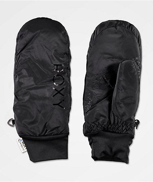 Roxy Packable Black Snowboard Mittens