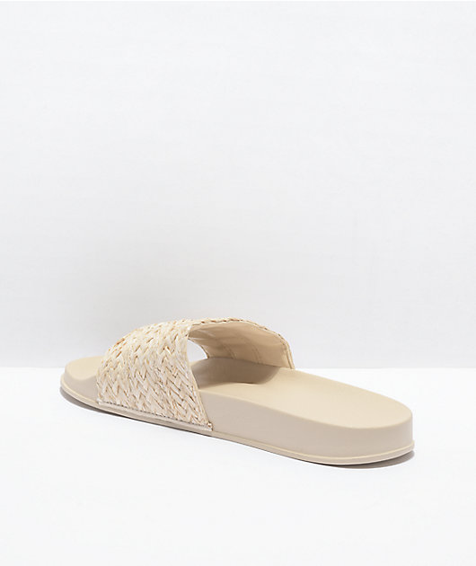 Roxy Slippy Jute & Straw Slide Sandals