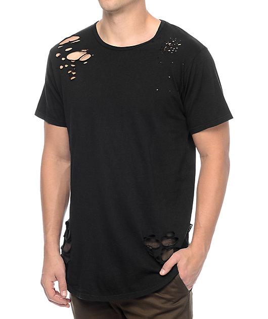 Rustic Dime Black Distressed Long T-Shirt
