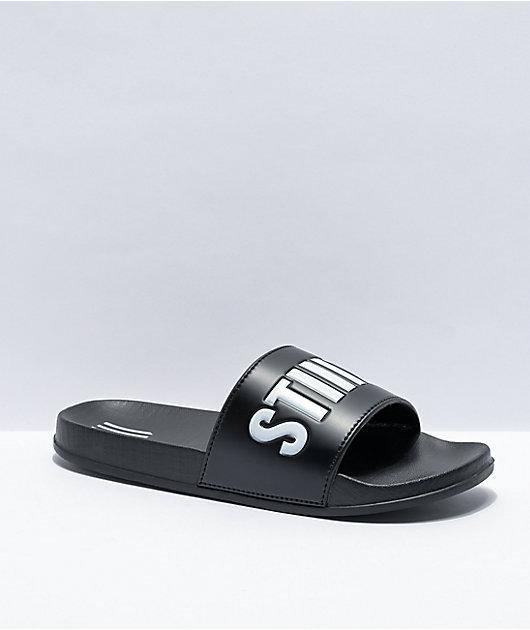 STIIIZY Script Black & White Slide Sandals