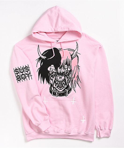 SUS BOY Hellboy Light Pink Hoodie