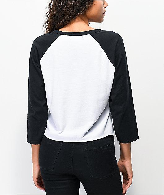 SWIXXZ Never Enough White Raglan Crop Long Sleeve T-Shirt