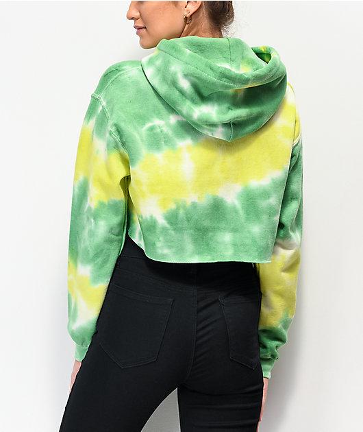 SWIXXZ Not Human Green Tie Dye Crop Hoodie
