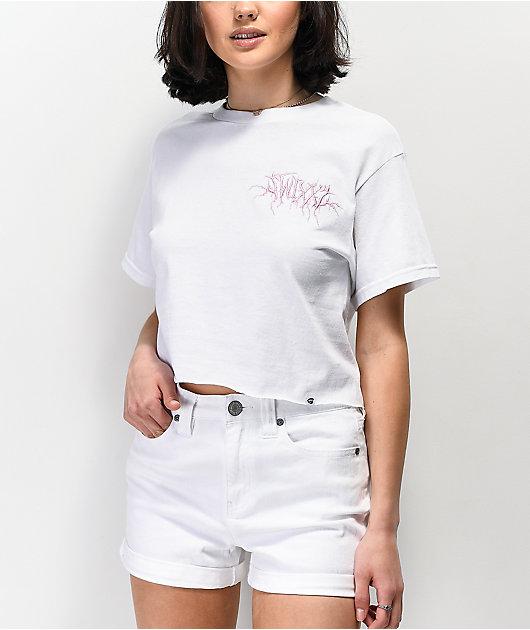 SWIXXZ Pinky Promise White Crop T-Shirt