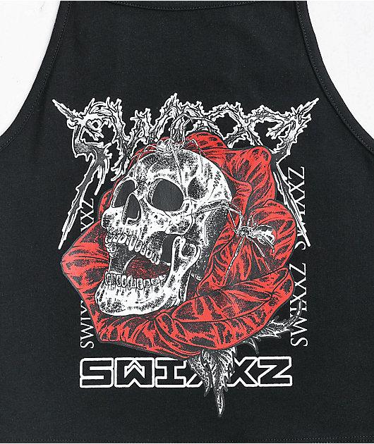 SWIXXZ Reign Of Terror Black Crop Tank Top