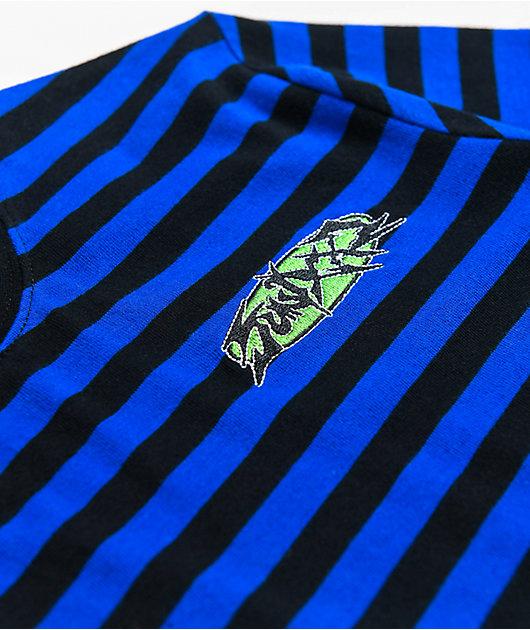 SWIXXZ Tour Staff Black & Blue Stripe Long Sleeve T-Shirt