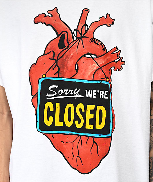 Salem7 Closed Heart White T-Shirt