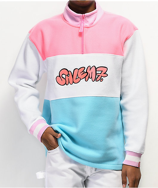 Salem7 Colorblock Pink, White & Blue Quarter Zip Fleece Sweatshirt