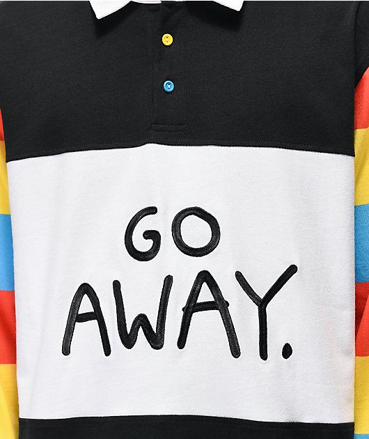 Salem7 Go Away Black, White & Multicolor Long Sleeve Polo Shirt