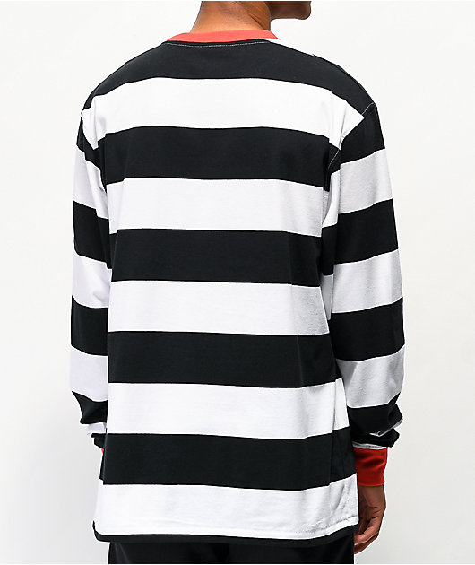 Salem7 Prisoner Black & White Stripe Long Sleeve T-Shirt