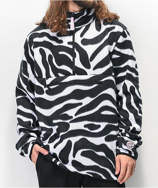 Salem7 Zebra Black & White Tech Fleece Jacket