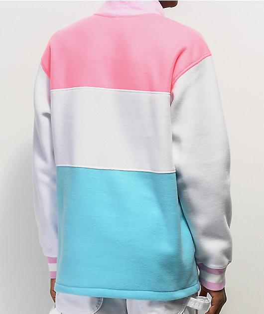 Salem7 sudadera de polar rosa, blanca y azul con media cremallera