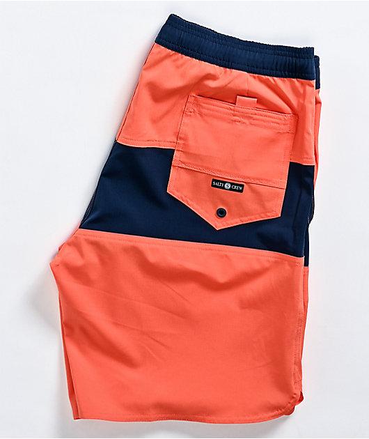 Salty Crew Coral & Salt Stripe Elastic Waist Board Shorts