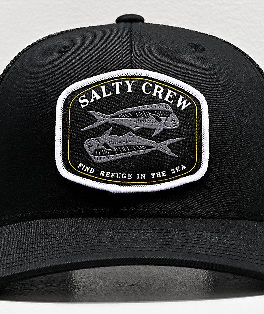 Salty Crew Double Up Retro Black Trucker Hat