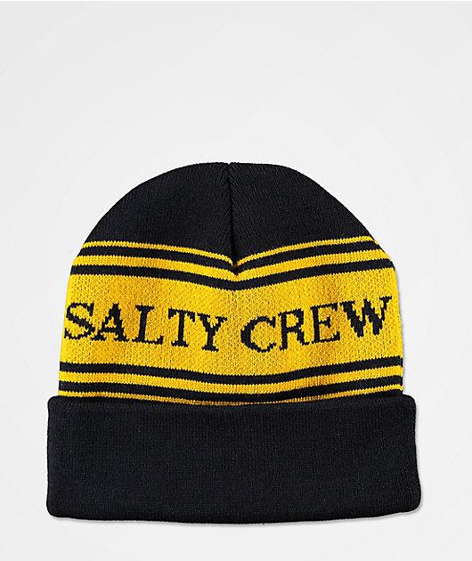 Salty Crew Fish & Flags Navy & Yellow Beanie