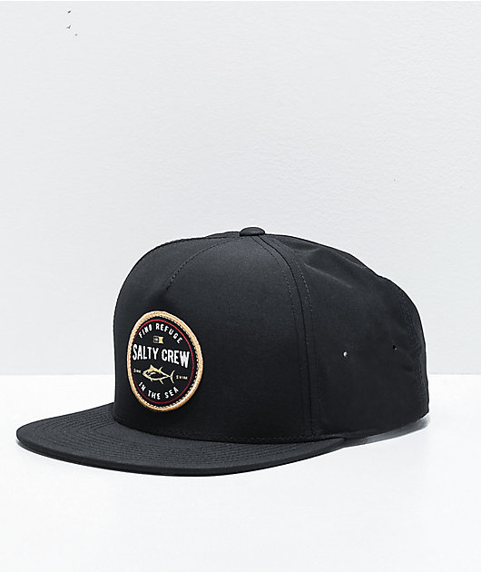 Salty Crew Harbor Black Snapback Hat