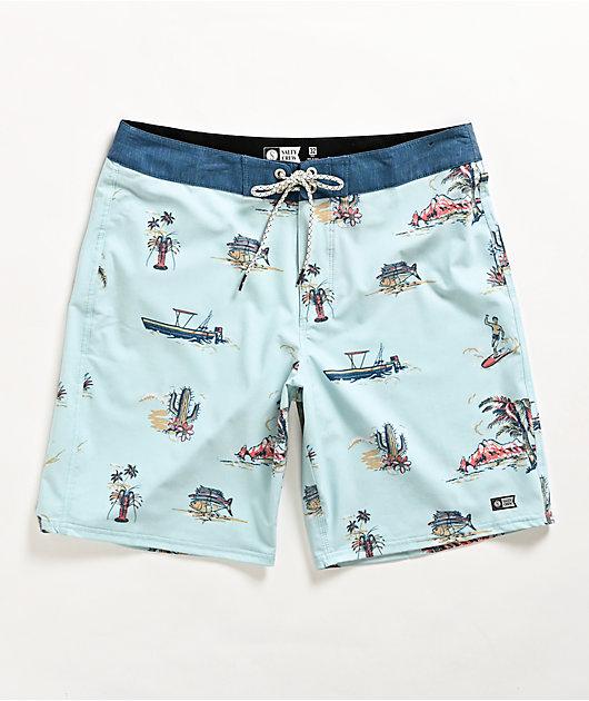 Salty Crew Pescador Light Blue Elastic Waist Board Shorts