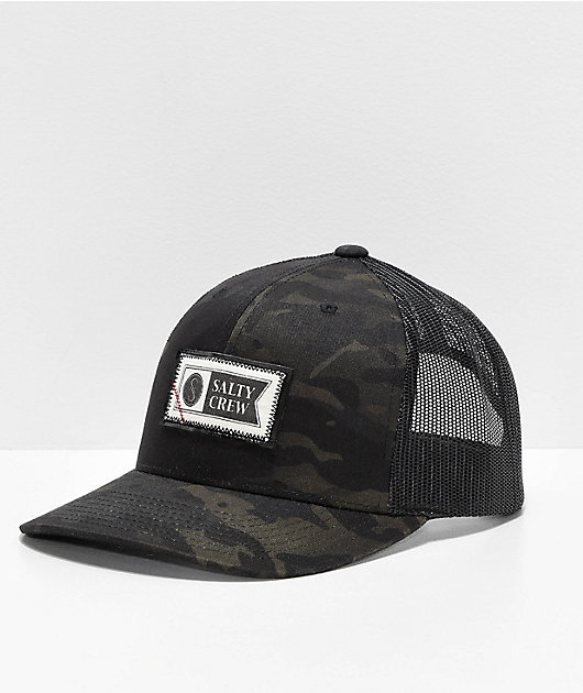Salty Crew Topstitch Retro Black & Green Camo Trucker Hat