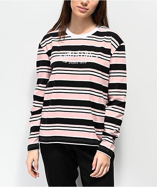 Santa Cruz 1973 Melrose Stripe Pink & Black Long Sleeve T-Shirt