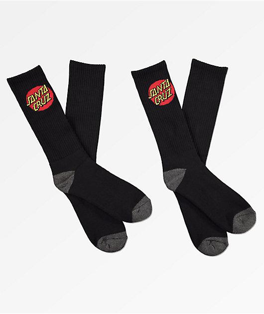 Santa Cruz Black Crew Socks 2 Pack