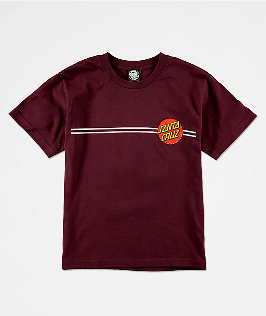 Santa Cruz Boys Classic Dot Burgundy T-Shirt
