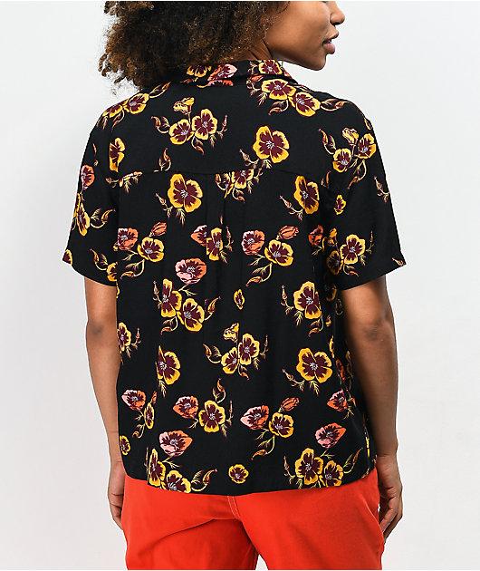 Santa Cruz Cali Poppy Black Short Sleeve Button Up Shirt