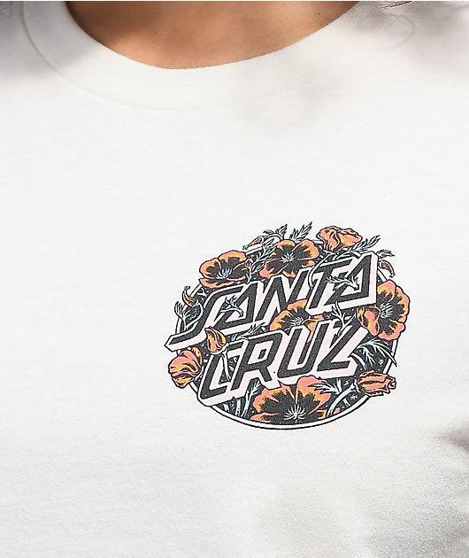 Santa Cruz Cali Poppy Vintage White Crop T-Shirt